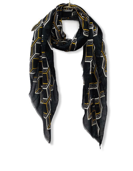 Large Honeycombs Pattern Black Cotton Scarf/Spring Summer Autumn Scarf/Gifts For Mother/Gifts For Her/Birthday Gifts/Scarves For Women