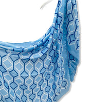 Large Honeycombs Pattern Blue Cotton Scarf/Spring Summer Autumn Scarf/Gifts For Mother/Gifts For Her/Birthday Gifts/Scarves For Women