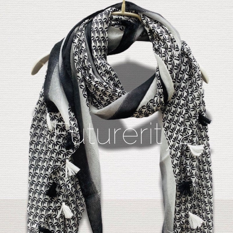 Small Vectors Of Leaves With Tassels Black Cotton Scarf/Spring Summer Scarf/Gifts For Mother/Gifts For Her/Scarves For Women/Birthday Gifts