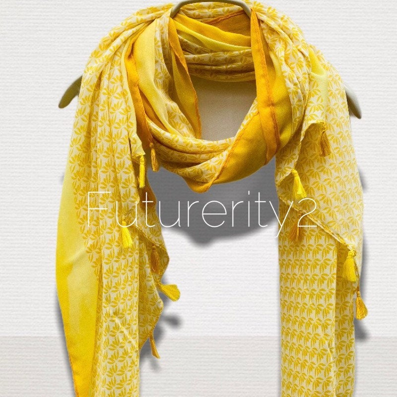 Small Vectors Of Leaves With Tassels Yellow Cotton Scarf/Spring Summer Scarf/Gifts For Mother/Gifts For Her/Scarves For Women/Birthday Gifts