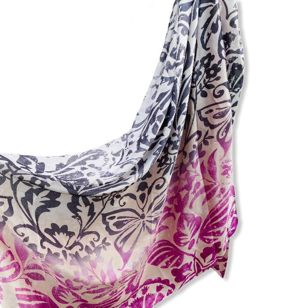 Two Toned Rustic Flowers Pattern Purple Grey Silk Scarf/Spring Summer Scarf/Gifts For Mother/Gifts For Her/Scarves For Women/Birthday Gifts