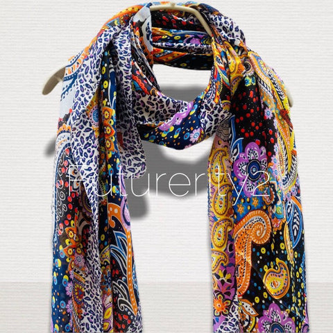 Multicoloured Paisley Print Black Silk Scarf/Spring Summer Scarf/Gifts For Her/Scarves Women/Gifts For Her/Birthday Gifts/Christmas Gifts