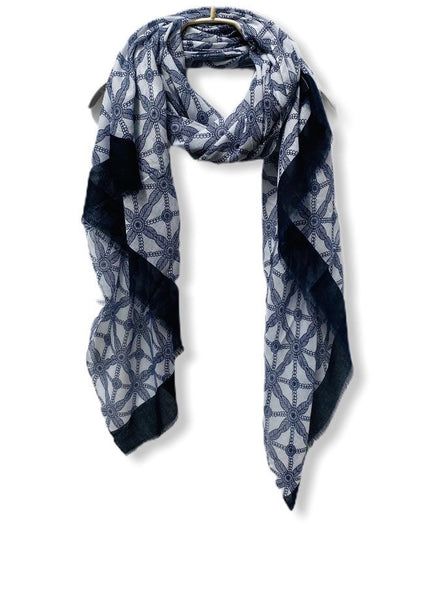 Lattice Print With Blue Trim Blue Cotton Scarf