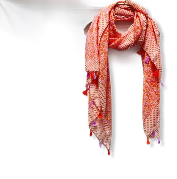 Small Seamless flowers Print With Tassels Orange Cotton Scarf/Spring Summer Scarf/Gifts For Her/Gifts For Mother/Scarves Women/Birthday Gift