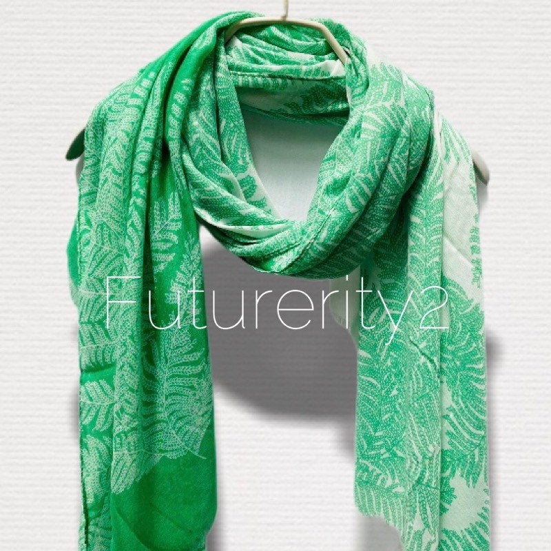 Two Toned Fern leafs Print Green White Cotton Scarf/Spring Summer Autumn Scarf/Gifts For Mother/Gifts For Her/Scarves Women/Birthday Gifts