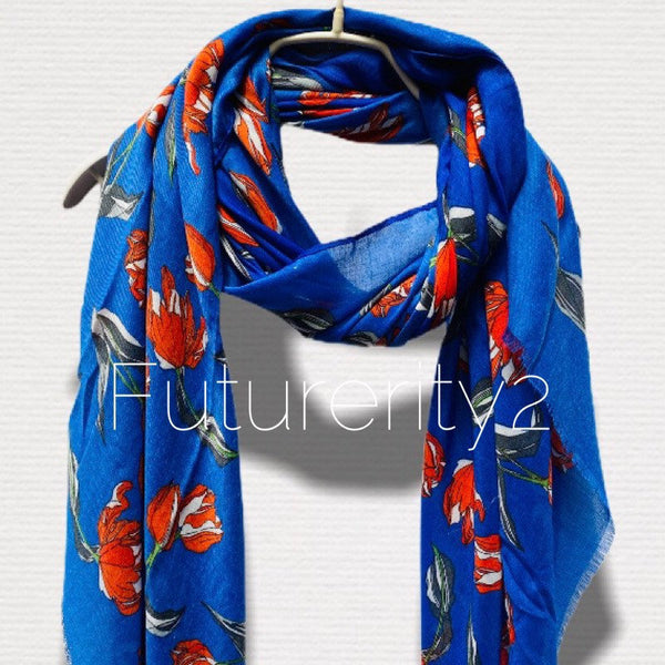 Sketched Tulips Flower Blue Cotton Scarf/Spring Summer Scarf/Gifts For Her/Gifts For Mother/Scarves Women/Birthday Gifts/Christmas Gifts