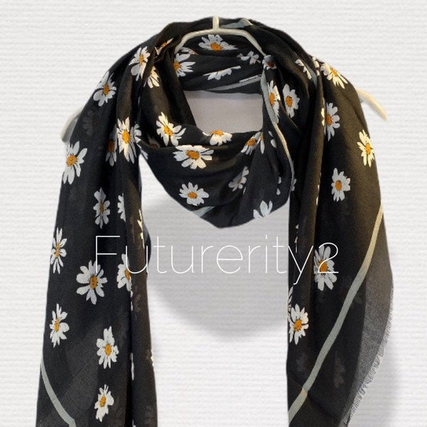 Daisy Flowers Black Scarf/Cotton Scarf/Spring Summer Autumn Scarf/Gifts For Mother/Gifts For Her/Scarf Women/Birthday Gifts/Christmas Gifts