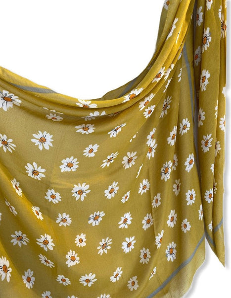 Daisy Flowers Olive Green Scarf/Cotton Scarf/Spring Summer Autumn Scarf/Gifts For Mom/Gifts For Her/Scarf Women/Birthday Gift/Christmas Gift
