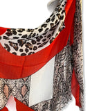 Wild Animals Skin Pattern Red Grey Cotton Scarf/Scarf Women/Spring Summer Scarf/Gifts For Mom/Gifts For Her Birthday/Christmas Gifts