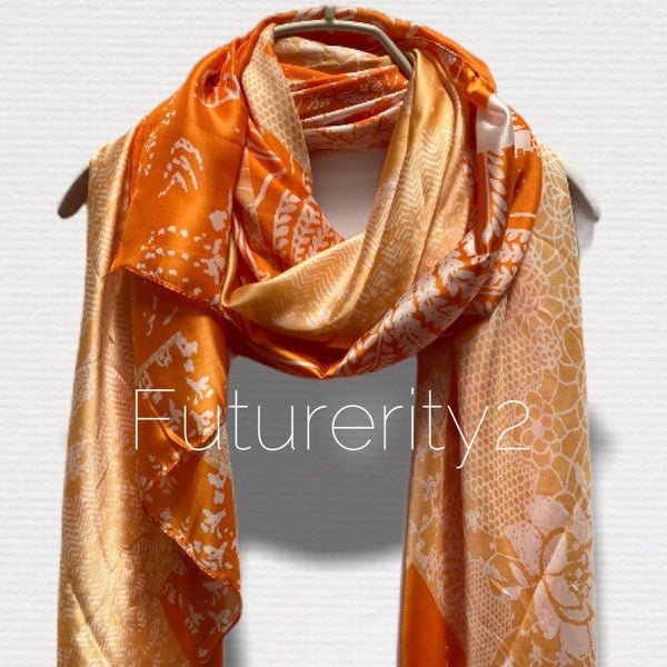 Japanese Kimono Florals Print Orange Silk Scarf/Spring Summer Autumn Scarf/Scarves Women/Gifts For Her Birthday/Gifts For Mom