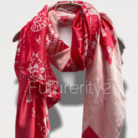Japanese Kimono Florals Print Pink Silk Scarf/Spring Summer Autumn Scarf/Scarves Women/Gifts For Her Birthday/Gifts For Mom