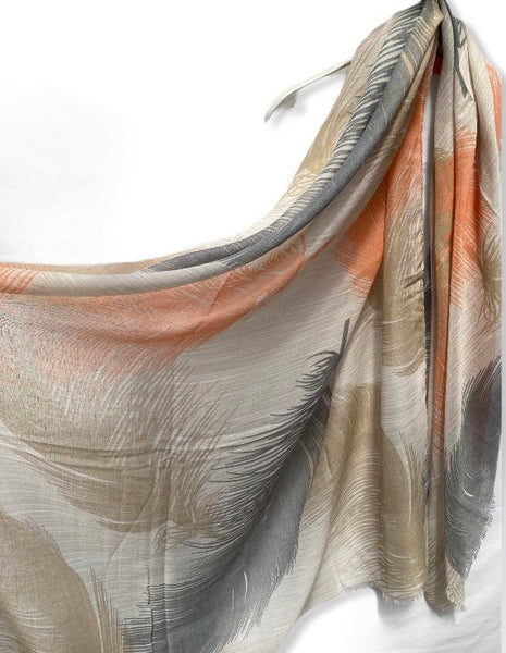 Floating Huge Feathers Cotton Scarf/ Beige Scarf/Scarves Women/Birthday Gifts/Spring Summer Scarf/Gifts For Her/Gifts For Mom/Christmas Gift