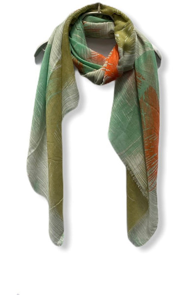 Floating Huge Feathers Cotton Scarf