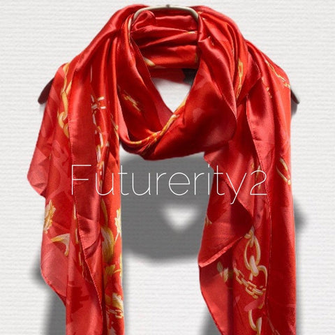 Chains Pattern Metallic Red Silk Scarf/Spring Summer Autumn Scarf/Women Scarves/Gifts For Mom/Gifts For Her Birthday/Christmas Gifts