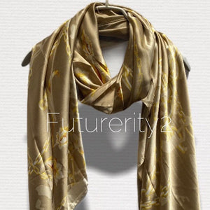 Chains Pattern Antique Gold Silk Scarf/Spring Summer Autumn Scarf/Women Scarves/Gifts For Mom/Gifts For Her Birthday/Christmas Gifts