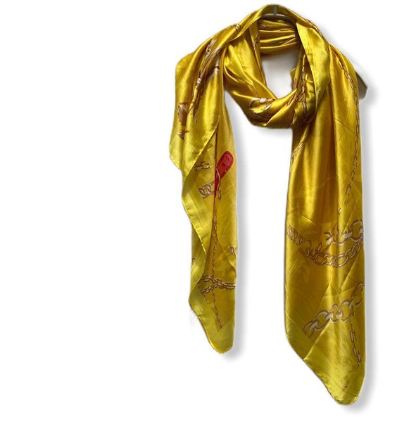Chains Pattern Metallic Gold Silk Scarf/Spring Summer Autumn Scarf/Women Scarves/Gifts For Mom/Gifts For Her Birthday/Christmas Gifts