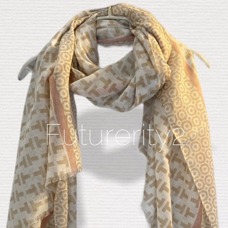 Mosaic Tiles Pattern With Pink Trim Beige Cotton Scarf