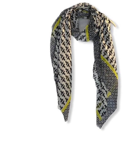Black Mosaic Tiles Pattern With Yellow Trim Cotton Scarf/Spring Summer Scarf/Gifts For Her/Gifts Fir Mom/Scarf Women/Birthday Gifts