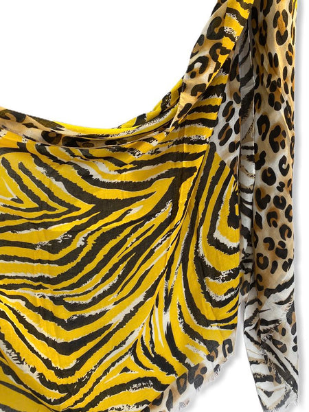 Leopard X Zebra Pattern Yellow Beige Cotton Scarf/Gifts For Mother/Gifts For Her Birthday/Scarf Women/Spring Summer Scarf/Christmas Gifts