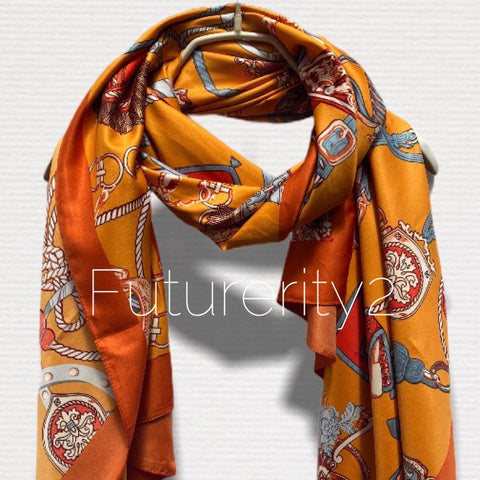 Vintage Inspired Chain & Tassels Print With Orange Trim Orange Silk Scarf/Spring Summer Scarf/Scarves Women/Gifts For Her/Gifts For Mom
