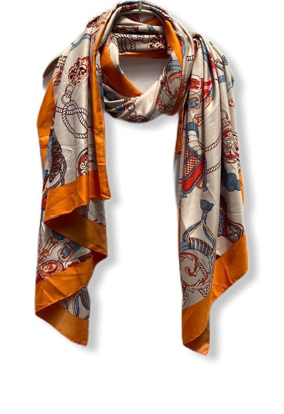 Vintage Inspired Chain & Tassels Print With Orange Trim Beige Silk Scarf/Spring Summer Scarf/Scarves Women/Gifts For Her/Gifts For Mom