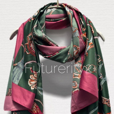 Vintage Inspired Chain & Tassels Print With Pink Trim Green Silk Scarf/Spring Summer Scarf/Scarves Women/Gifts For Her/Gifts For Mom