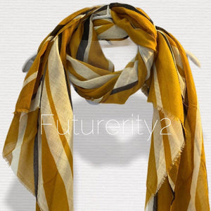 Uneven Pinstripes Pattern Mustard Yellow Cotton Scarf/Spring Summer Scarf/Gifts For Mom/Gifts For Her Birthday/Scarf Women/Christmas Gifts