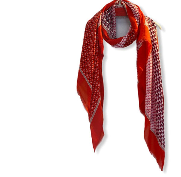 Modern Tiles Pattern Red Cotton Scarf/Spring Summer Scarf/Gifts For Mom/Gifts For Her/Scarf Women/Birthday Gifts/Christmas Gifts