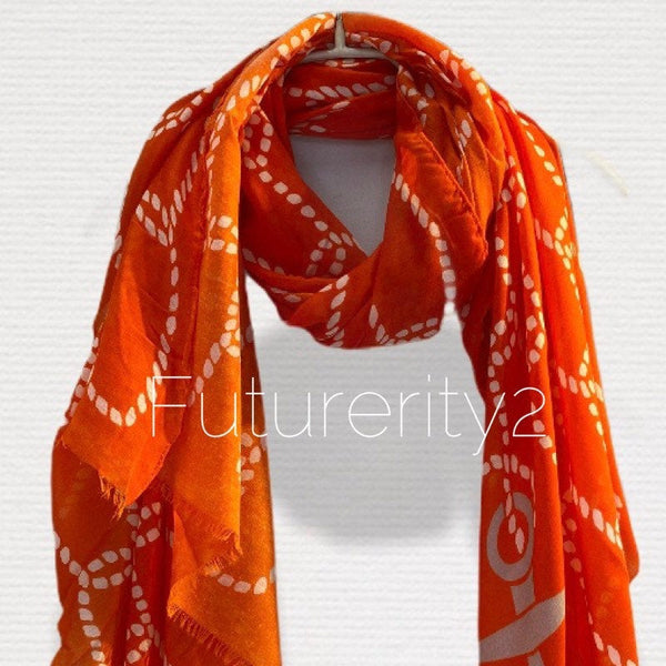 Anchor With Chain Pattern Orange Cotton Scarf/Spring Summer Autumn Scarf/Gifts For Mom/Gifts For Her Birthday/Scarf Women/Christmas Gifts