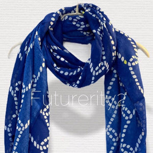 Anchor With Chain Pattern Blue Cotton Scarf