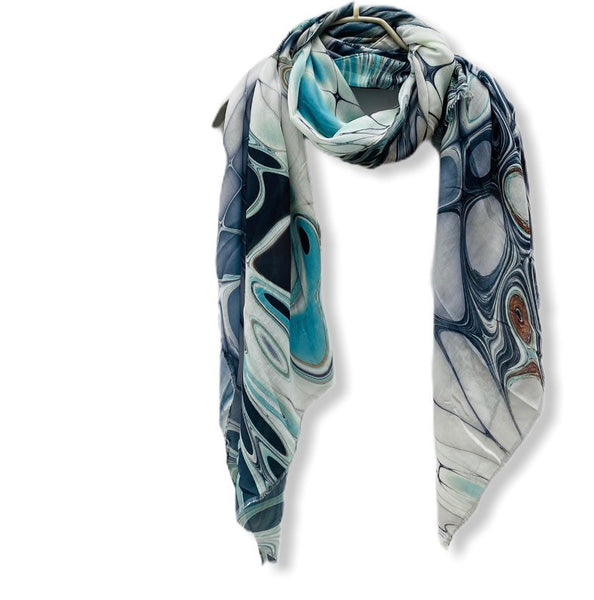 Abstract Liquid Pattern Blue Grey Cashmere Scarf/Spring Summer Autumn Scarf/Gifts for Mom/Gifts For Her/Scarves Women/Birthday Gifts
