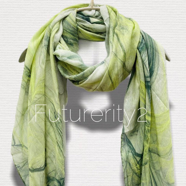 Abstract Smoke Pattern Light Green Light Weight Cashmere Scarf