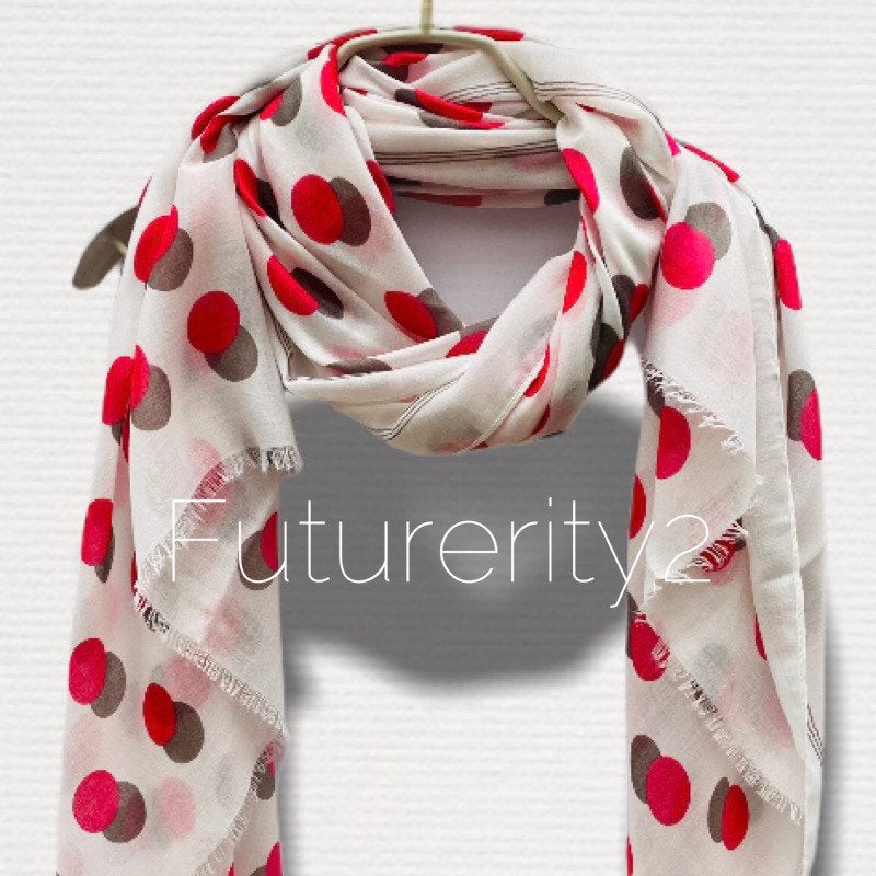 Pink Polka Dots With Shadow White Cotton Scarf/Spring Summer Scarf/Gifts For Her/Scarves Women/Gifts For Mom/Birthday Gifts/Christmas Gifts