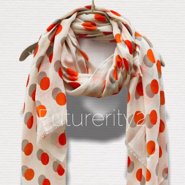 Orange Polka Dots With Shadow Off White Cotton Scarf/Spring Summer Scarf/Gifts For Her/Scarves Women/Gifts For Mom/Birthday Gifts