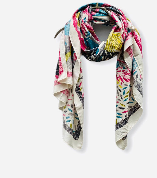 Sketched Tropical Flowers Silk Cotton With Grey Trim Off White Scarf/Spring Summer Scarf/Gifts For Her/Gifts For Mom/Scarves Women