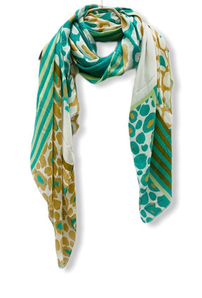 Lines And Leopard Pattern Green Bronze Cotton Scarf/Gifts For Her/Gifts For Mother/Spring Summer Autumn Scarf/Scarves Women/Birthday Gifts