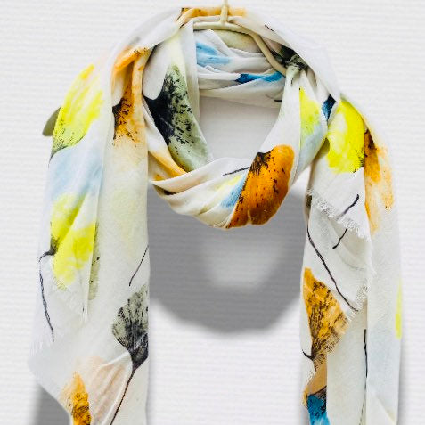 Pressed Flowers White Cotton Scarf/Spring Summer Autumn Scarf/Gifts For Mother/Gifts For Her/Scarves Women/Birthday Gifts/Christmas Gifts