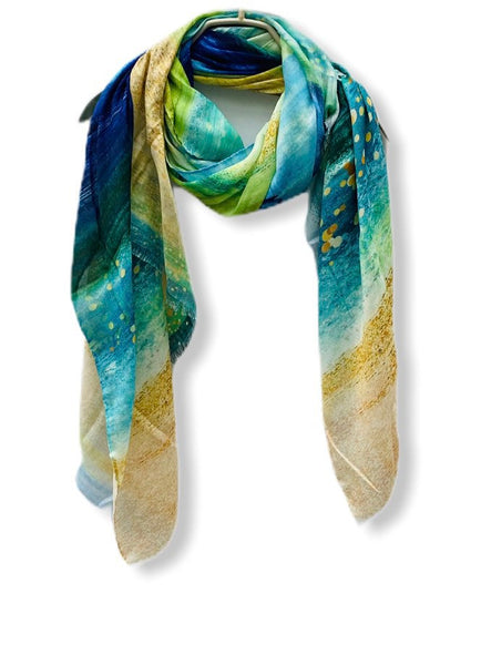 Large Brush Strokes Green Blue Light Weight Cashmere Scarf