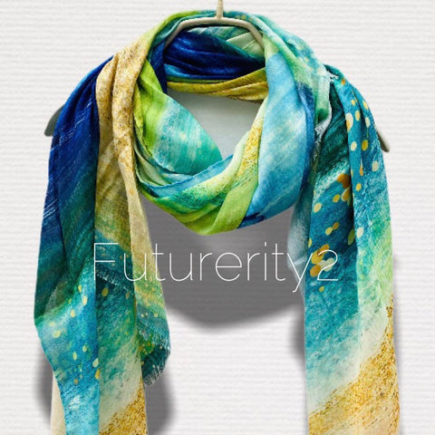 Large Brush Strokes Green Blue Cashmere Scarf/Women Scarf/Spring Summer Autumn Scarf/Gifts For Mother/Gifts For Her Birthday