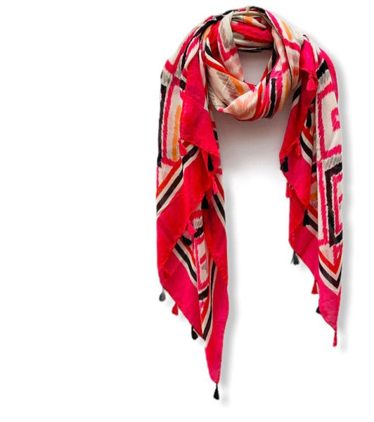 Geomatic Ikat Pattern With Tassels Pink Cotton Scarf/Women Scarf/Spring Summer Autumn Scarf/Bohemian Scarf/Gifts For Mom/Gifts For Her