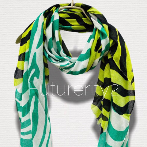 Green Black Zebra Pattern White Cotton Scarf/Spring Summer Autumn Scarf/Gifts For Mom/Scarf Women/Gifts For Her Birthday/Christmas Gifts