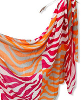Orange Pink Zebra Pattern White Cotton Scarf/Spring Summer Autumn Scarf/Gifts For Mom/Scarf Women/Gifts For Her Birthday/Christmas Gifts