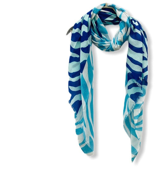 Two Toned Blue Zebra Pattern White Cotton Scarf/Spring Summer Autumn Scarf/Gifts For Mom/Scarf Women/Gifts For Her Birthday/Christmas Gifts