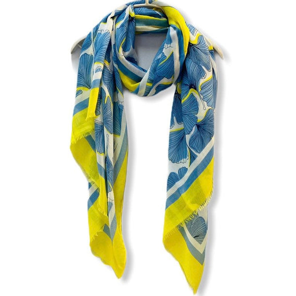 Pressed Flowers With Yellow Trim Blue Cotton Scarf/Spring Summer Autumn Scarf/Gift For Her/Gifts For Mum/Scarf Women/Birthday Christmas Gift