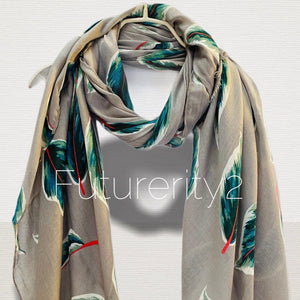 Floating Leafs Grey Cotton Scarf/Spring Summer Autumn Scarf/Gifts For Mother/Gifts For Her/Birthday Gifts /Scarf Women/Christmas Gifts