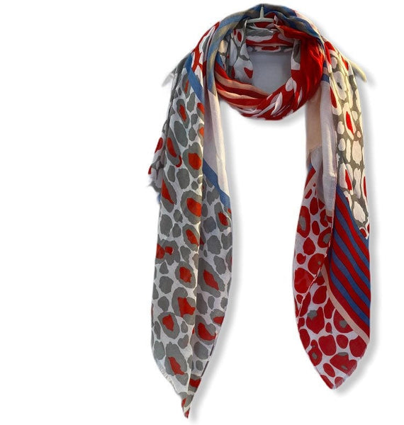 Lines And Leopard Pattern Red Grey Cotton Scarf/Gifts For Her/Gifts For Mother/Spring Summer Autumn Scarf/Scarves Women/Birthday Gifts