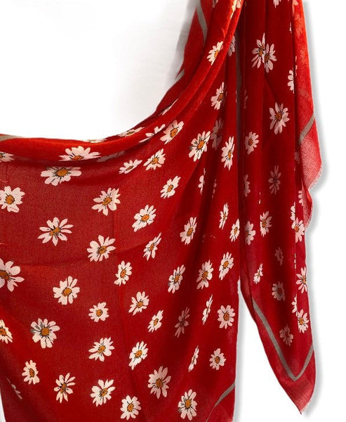 Daisy Flowers Red Cotton Scarf