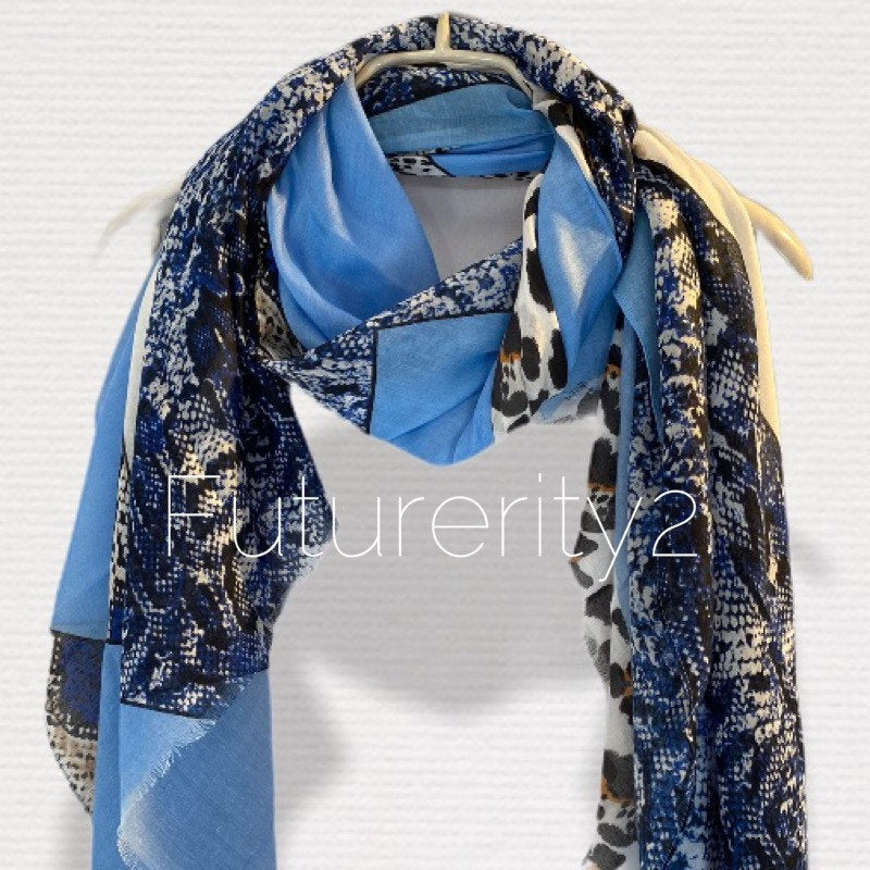 Wild Animals Skin Pattern Blue Grey Cotton Scarf/Scarf Women/Spring Summer Scarf/Gifts For Mom/Gifts For Her Birthday/Christmas Gifts