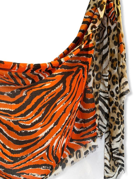 Leopard X Zebra Pattern Orange Beige Cotton Scarf
