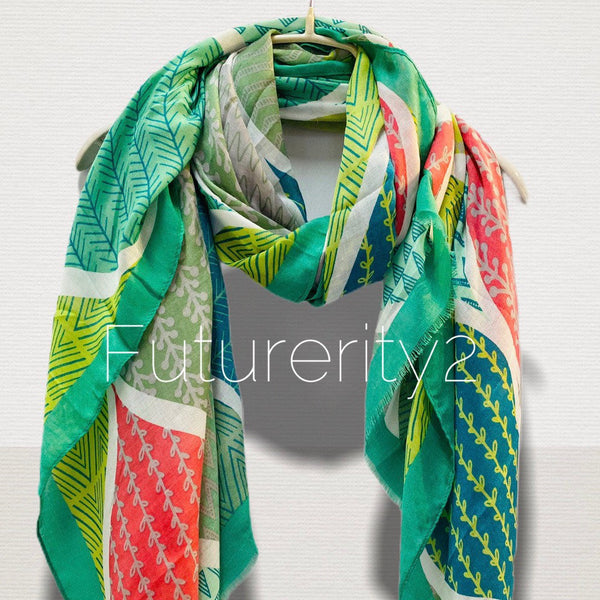 Geo Leafs Pattern Green Cotton Scarf/Spring Summer Autumn Scarf/Scarf Women/Gifts For Mom/Gifts for Her Birthday/Christmas Gifts